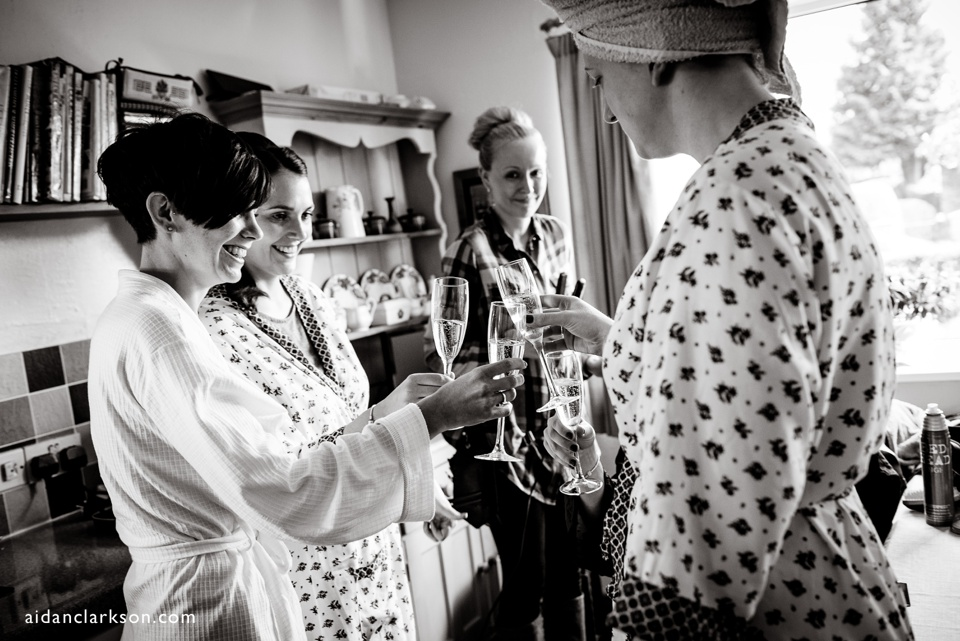Bridal preparations - drinking champagne